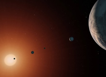 Artist's impression of the seven planets orbiting the star TRAPPIST-1. Image credit: NASA/JPL-Caltech
