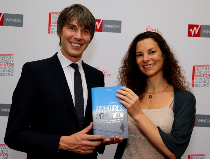 Royal Society Professor of Public Engagement in Science, Brian Cox, with the winner of the Royal Society Winton Prize for Science Books 2015, Gaia Vince.