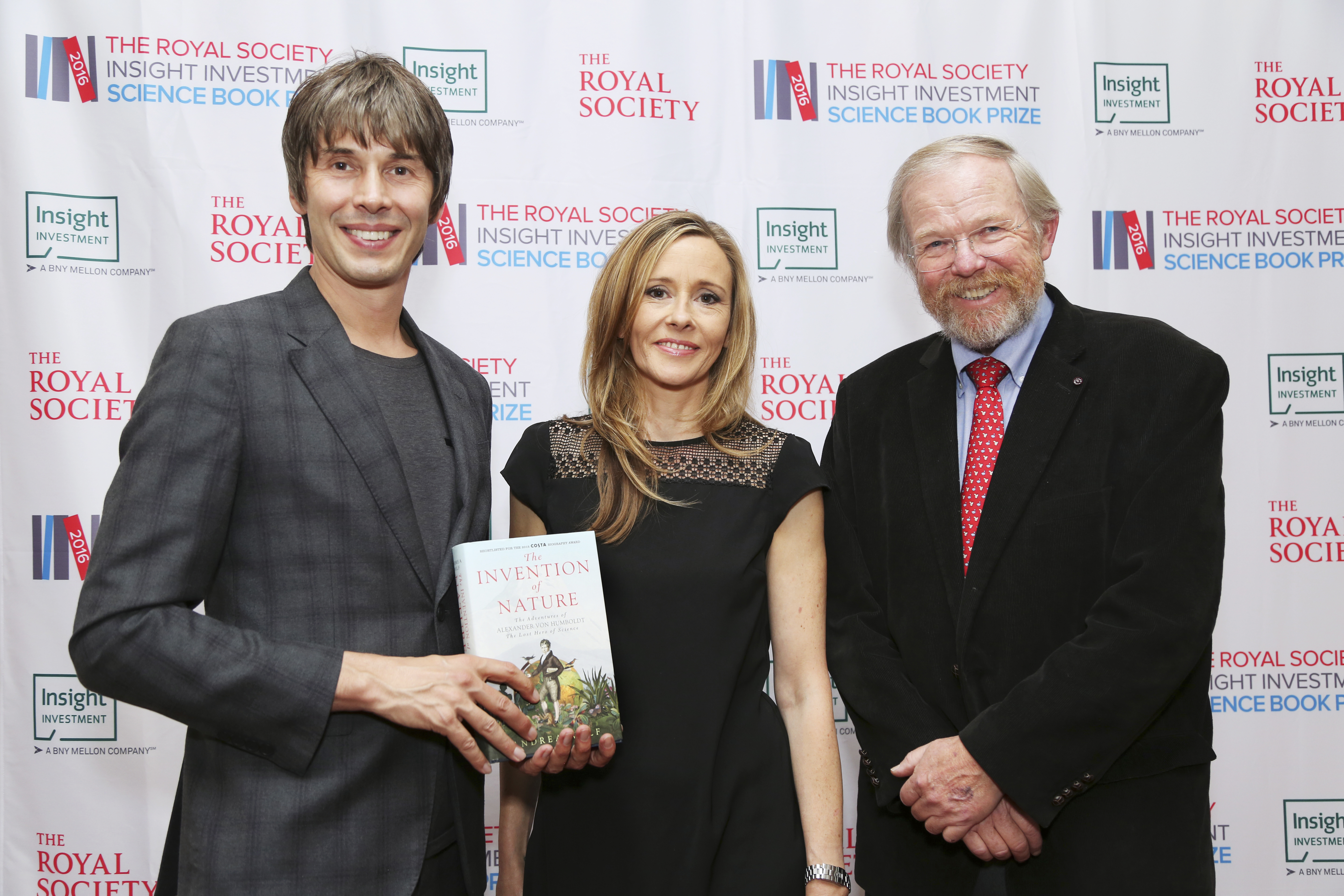 2016 Winner Andrea Wulf at the award ceremony with Professor Brian Cox and Chair of judges Bill Bryson