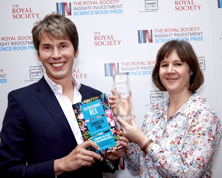 2017 Winner Cordelia Fine with Brian Cox at the award ceremony