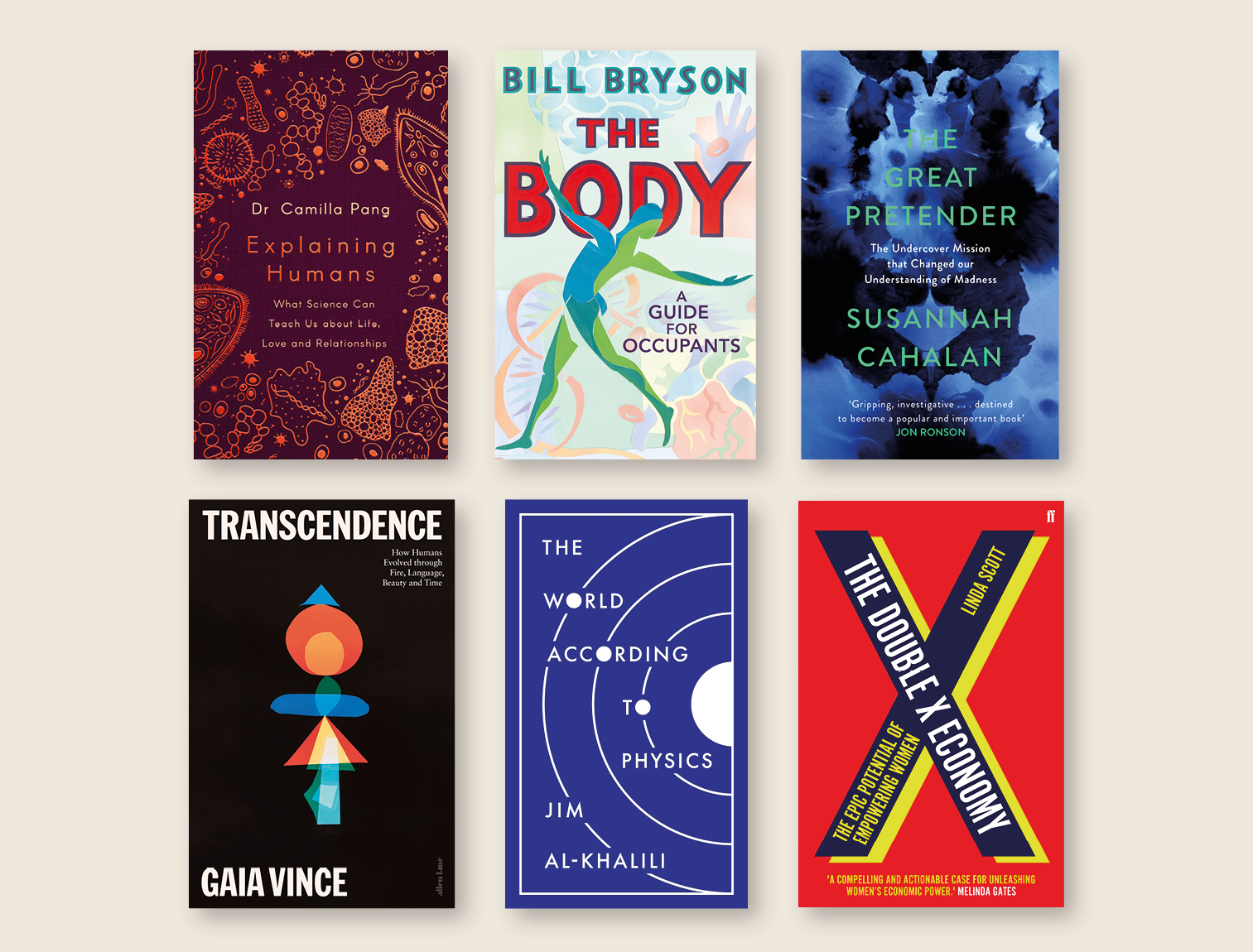 2020 shortlisted titles - Explaining Humans by Camilla Pang, The Body by Bill Bryson, The Great Pretender by Susannah Cahalan, Transcendence by Gaia Vince, The World According to Physics by Jim Al-Khalili and the Double X Economy by Linda Scott.