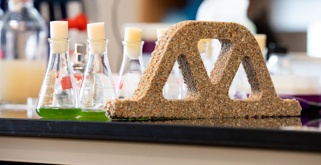 "A block made from ""living"" building materials by CU Boulder's Wil Srubar and his colleagues."