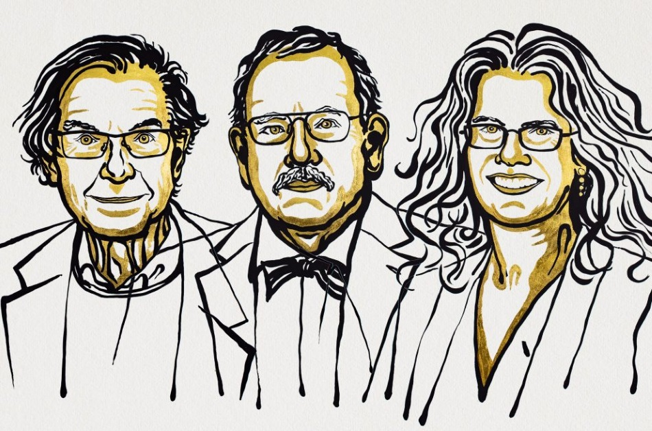 Illustration of Roger Penrose, Reinhard Genzel and Andrea Ghez. Ill. Niklas Elmehed. © Nobel Media.