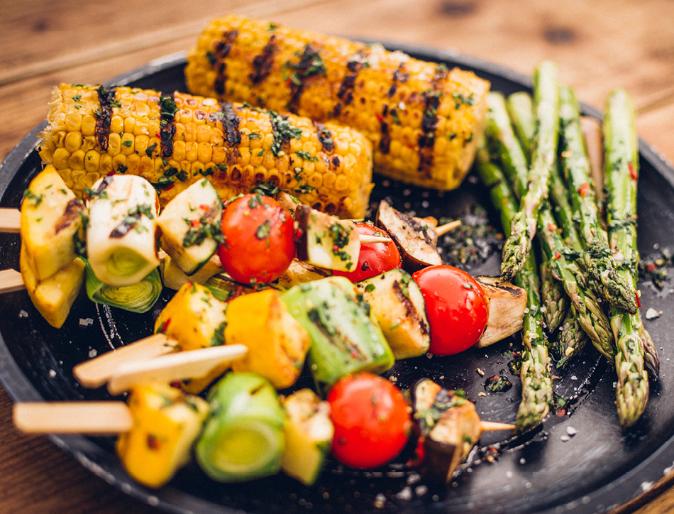 Grilled vegetable kebabs. Copyright wundervisuals
