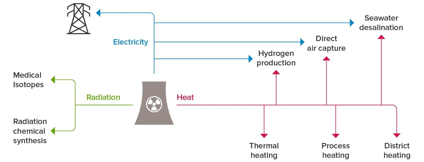Flowchart showing a range of options for nuclear cogeneration exist, using heat from the power station