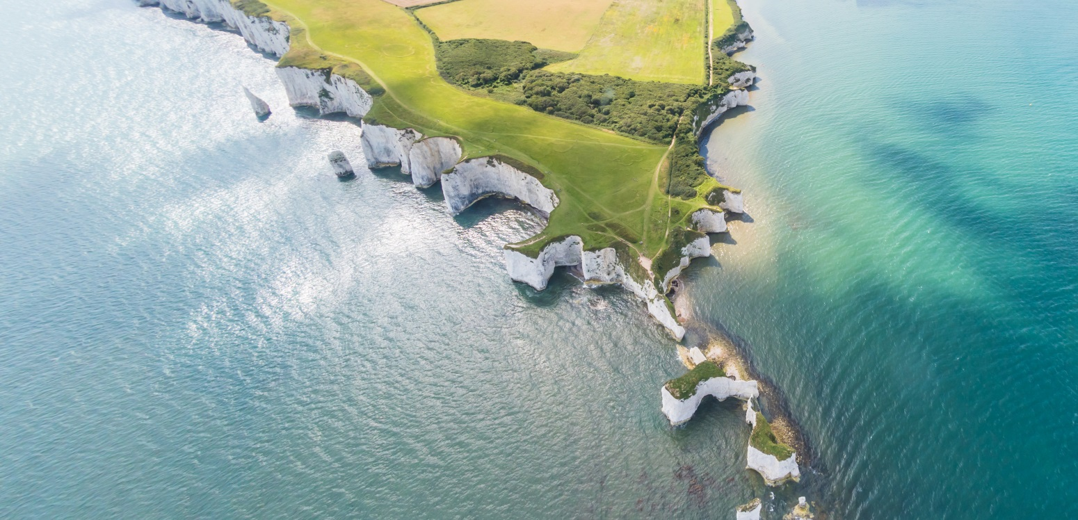Old Harry Rocks and Purbeck Hills