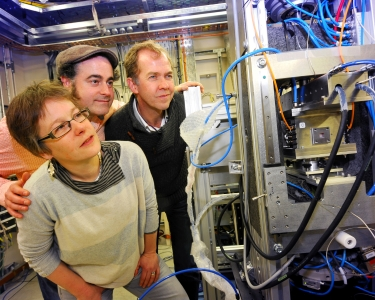 Scientists carrying out X-ray tomography studies at Diamond. This powerful technique allows researchers to produce full 4D representations of phenomena such as magma flows or melting icecream. Left to right: Marian Holness (Cambridge), Yan Lavallee (Liverpool), Peter Lee (Manchester).