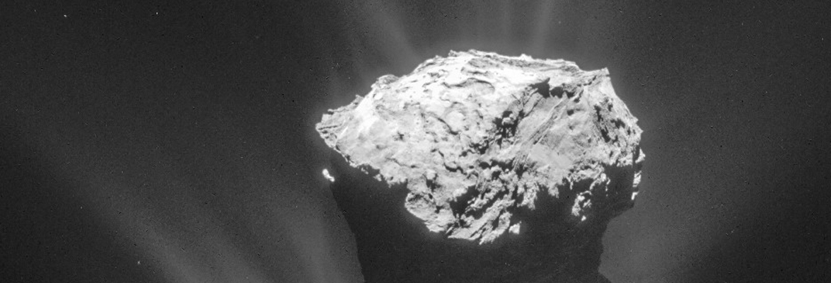 Comet 67P, showing jets of gas and dust exploding into space, has been explored through the Rosetta space mission. Credit: ESA/Rosetta/NAVCAM – CC BY-SA IGO 3.0