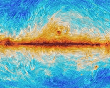 The polarised synchrotron sky as seen by the Planck satellite. The lines on this map represent the magnetic field lines of our Galaxy, which electrons are spiralling around and emitting this radiation. 	ESA and the Planck Collaboration
