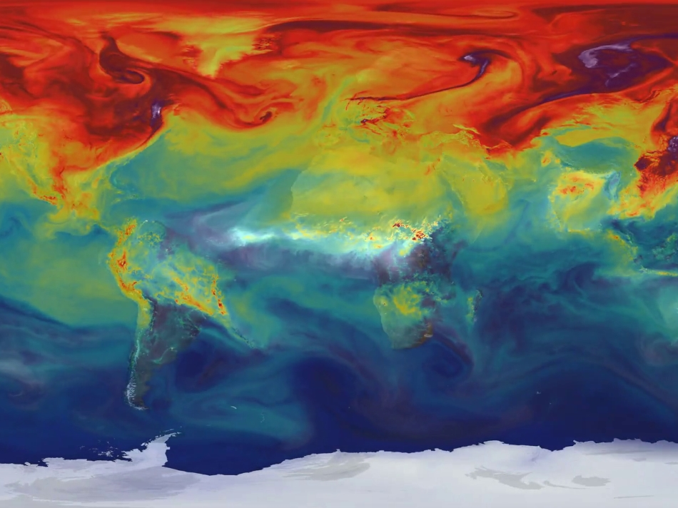 Ultra-high-resolution NASA computer model showing how carbon dioxide in the atmosphere travels around the globe. Credit: NASA