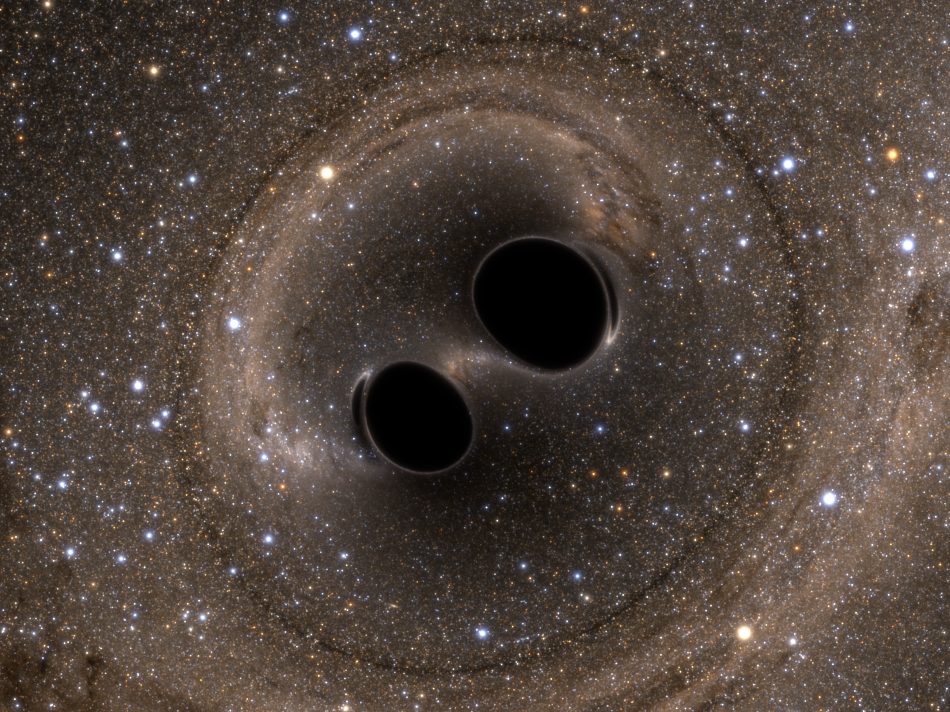 Visualisation of the binary black hole merger GW150914 seen by LIGO. Credit: SXS Collaboration