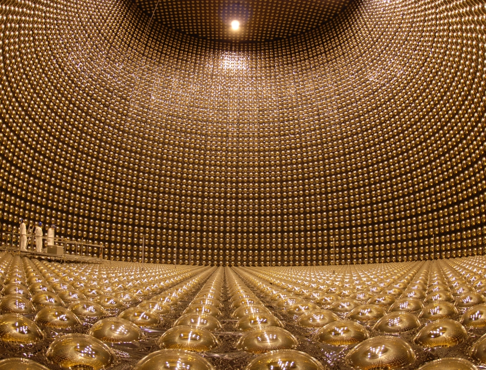 The inside of the Super-Kamiokande detector without water. Credit: Kamioka Observatory, ICRR (Institute for Cosmic Ray Research), The University of Tokyo