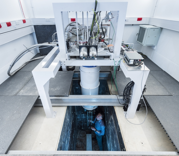 Dilution fridge in IsoLab used to study some of the coldest temperatures in the Universe