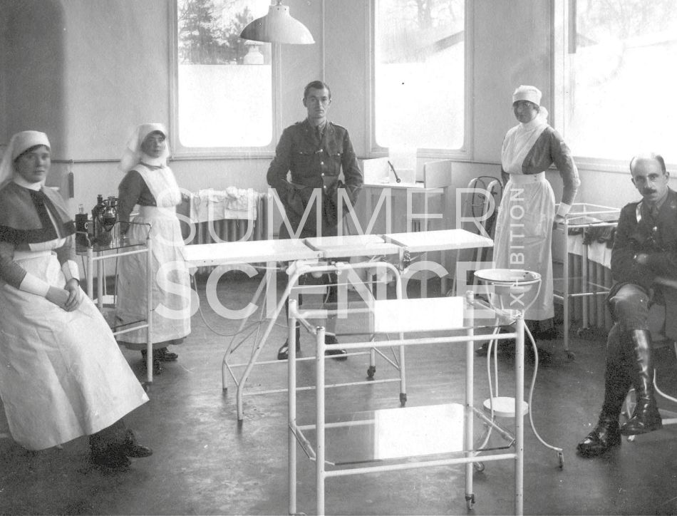 Summer Science Exhibition: a black and white photograph of doctors and nurses in an early 20th century operating theatre