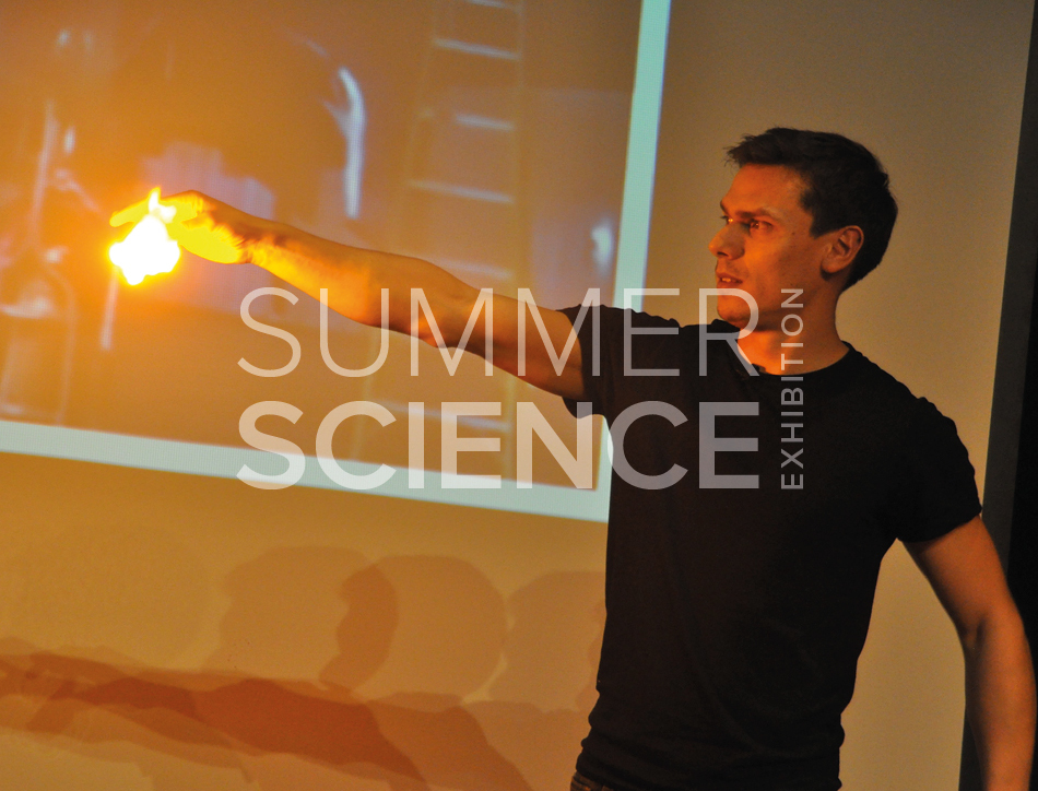 Summer Science Exhibition: Neil Monteiro performing an explosive scientific demonstration