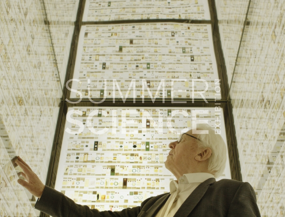Summer Science Exhibition: Sir David Attenborough filming in a room full of microscope slides in the Grant Museum of Zoology