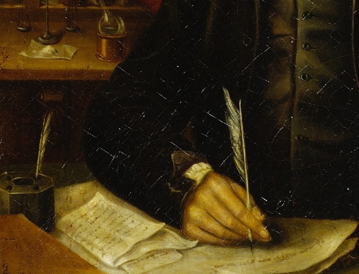 Priestley writing with a quill