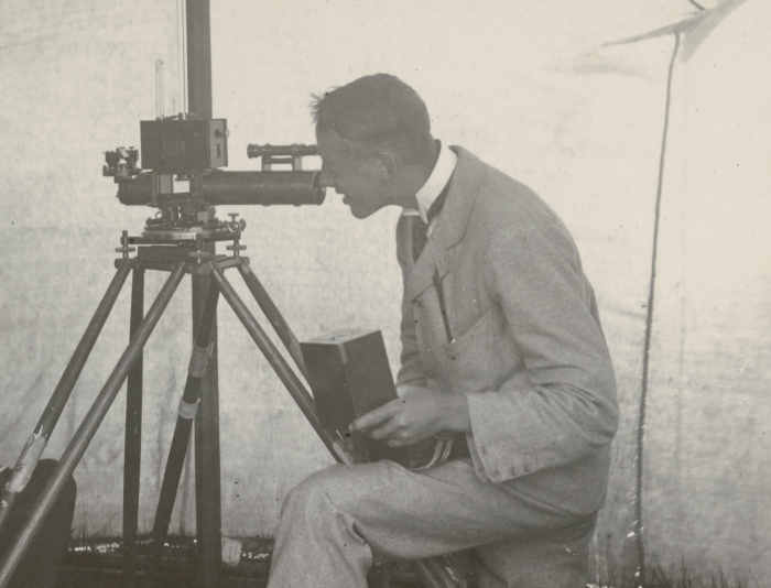 Man making meteorological observations
