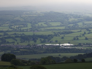 The Hay Festival site and surrounding countryside. Credit Finn Beales and Hay Festivals