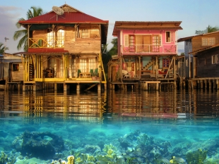 Homes in front of water