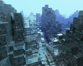 Cityscape made out of glass blocks