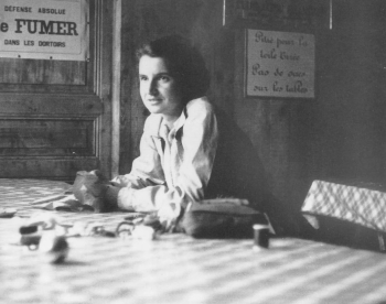 black and white photo of Rosalind Franklin (British scientist involved with the fine molecular structure of DNA)