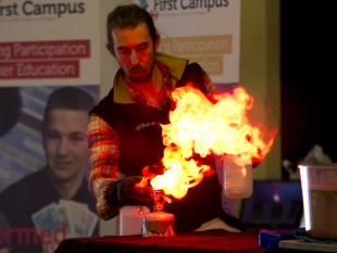 Scientist experimenting with fire
