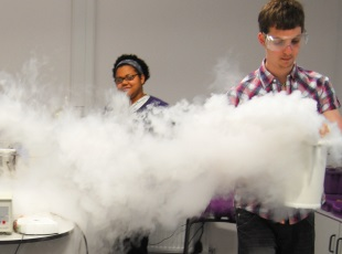 Scientists using liquid nitrogen