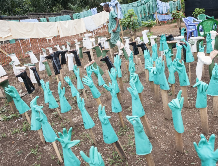 Rubber gloves at Ebola site