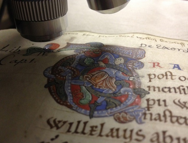 Medieval manuscript under a microscope