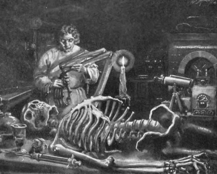 Frankenstein at work in his laboratory by Mary Wollstonecraft Shelley.