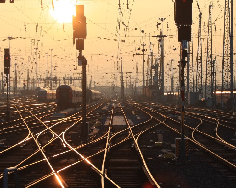 Railway tracks in the sunset