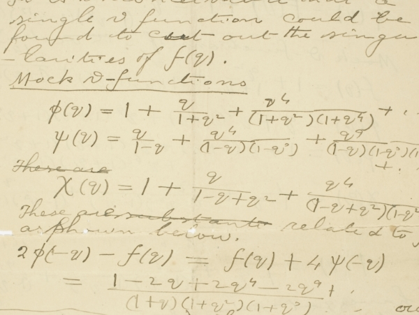 Extract from Ramanujan's final letter