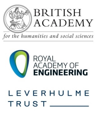 Logos for the British Academy, Royal Academy of Engineering and The Leverhulme Trust