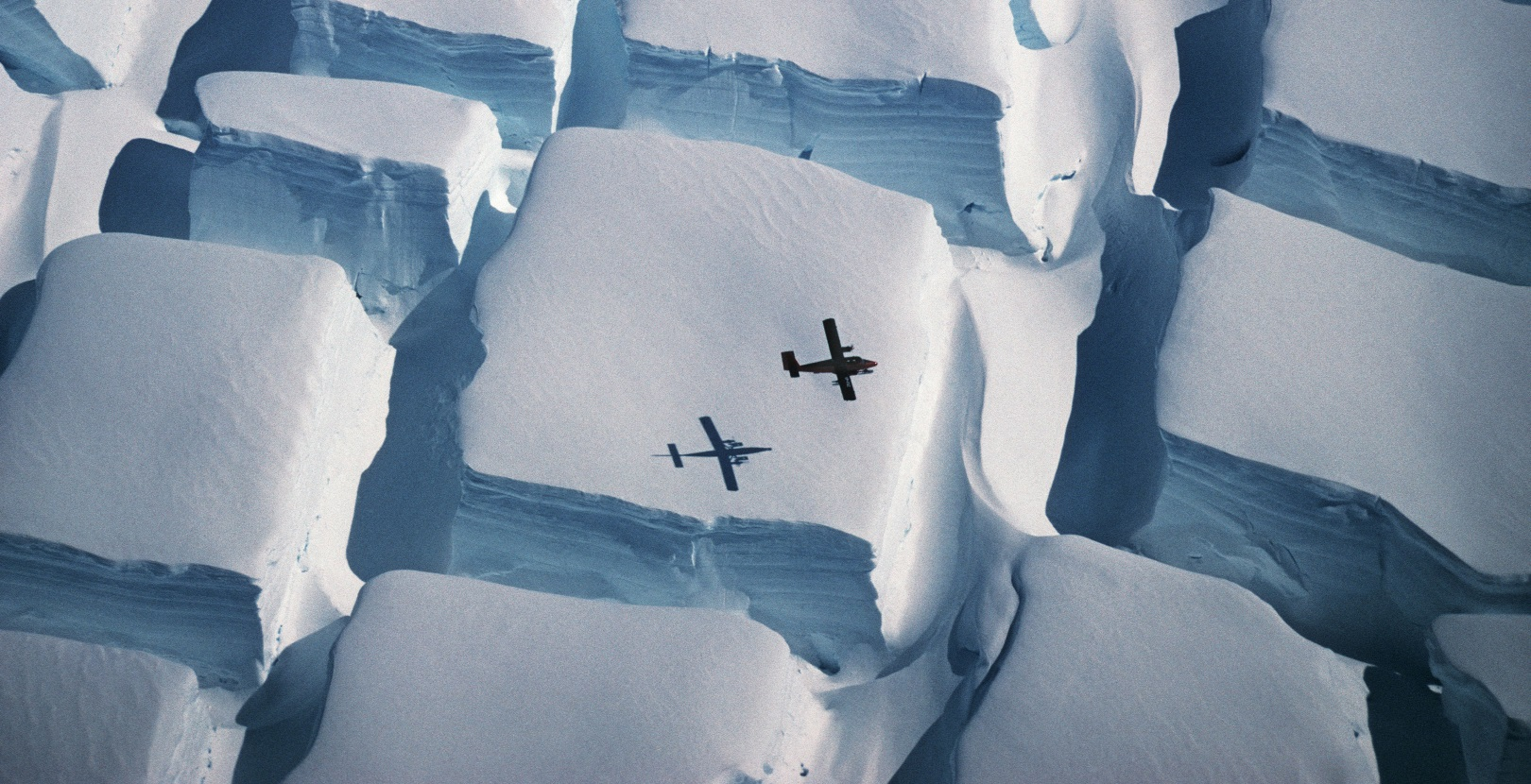 Plane flying over Antarctica. By Peter Convey