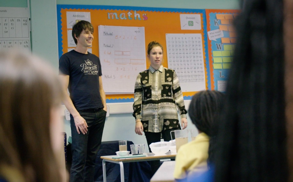 Professor Brian Cox, teacher Sophie Donovan and pupils from Britannia Village Primary School in London