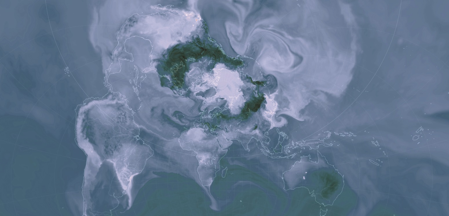 Visualisation of global carbon dioxide surface concentration by Cameron Beccario, earth.nullschool.net, using GEOS-5 data provided by the Global Modeling and Assimilation Office (GMAO) at NASA Goddard Space Flight Center.