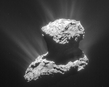 Comet 67P on 25 March 2015, with its jets of gas and dust.