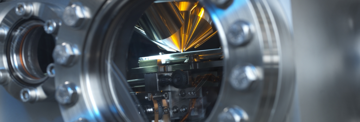 The inside the vacuum chamber of a TOF-SIMS Instrument. Credit: National Physical Laboratory