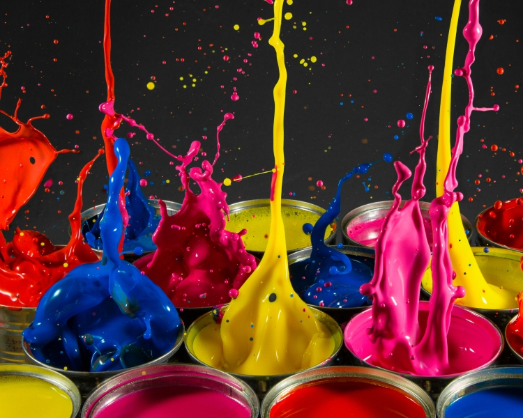 Brightly coloured splashing paint