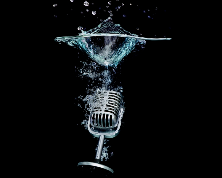 Microphone under water. Credit: 101cats