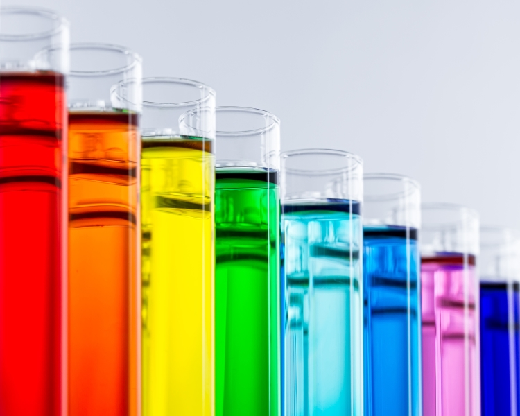 test tubes with colorful chemicals. Credit: Grafner