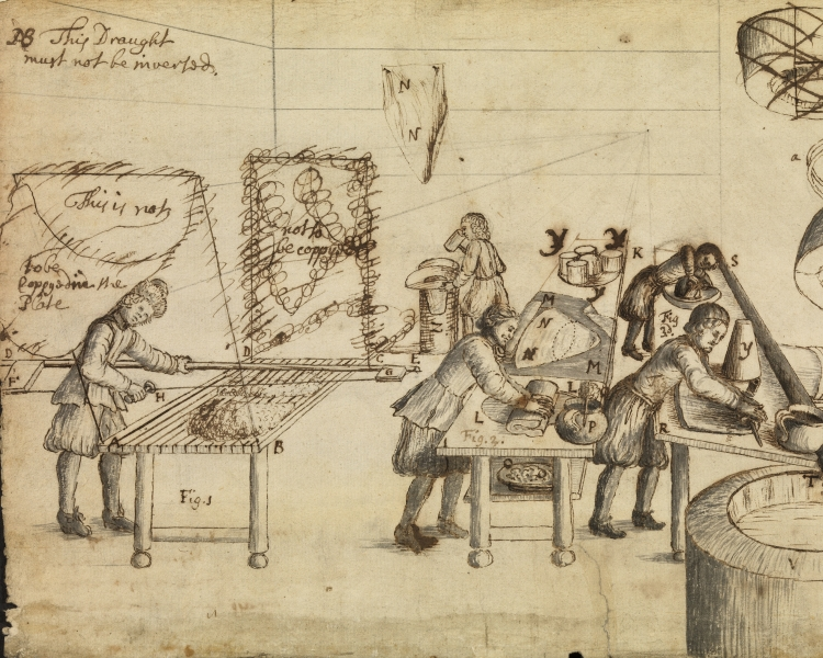 """Felt-makers at work"" by Robert Hooke. A sketch using ink on paper. Credit: Richard Valencia Photography, RS Archives Cl.P/20/96/003"